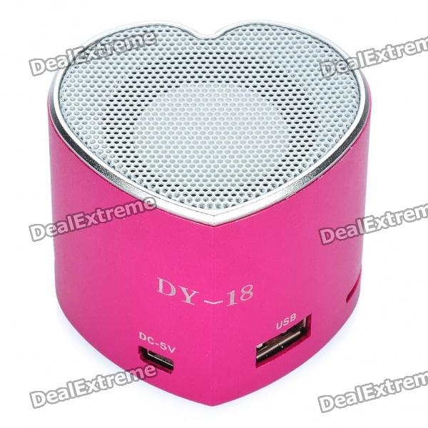 Heart Style Portable USB Rechargeable MP3 Player Speaker w/ FM / USB / TF Slot - Deep Pink