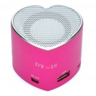 Herz Stil tragbare USB aufladbare MP3-Player Speaker w / FM / USB / TF Slot - Deep Pink