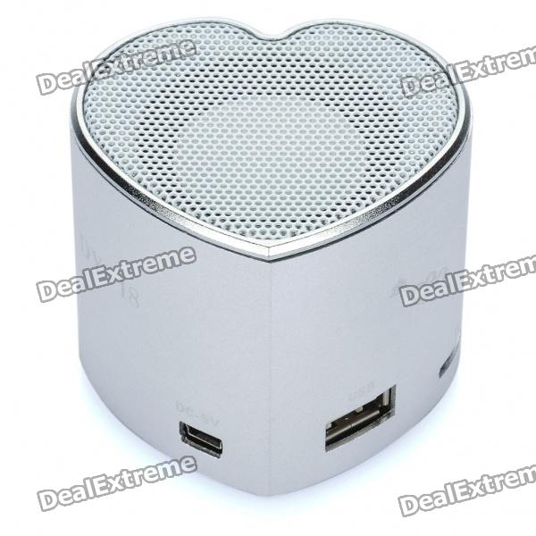 Heart Style Portable USB Rechargeable MP3 Player Speaker w/ FM / USB / TF Slot - Silver