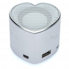 Herz Stil tragbare USB aufladbare MP3-Player Speaker w / FM / USB / TF Slot - Silber
