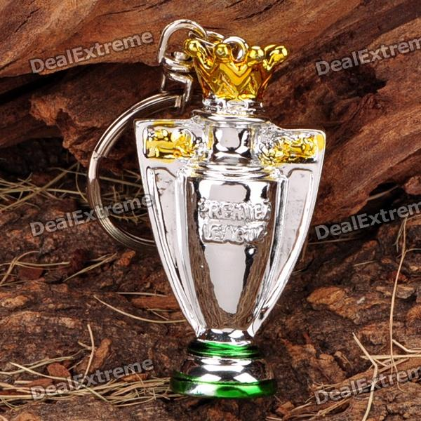 The Premier League Cup Champion Trophy Style Keychain - Silver + Yellow + Green