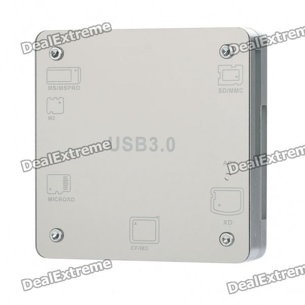 USB 3.0 Multi-in-One MS / M2 / Micro SD / CF / SD / XD Card Reader - Silver
