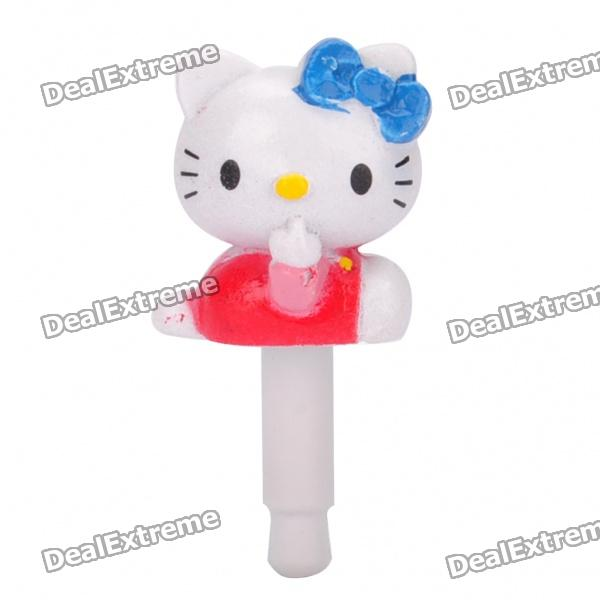 Cute Hello Kitty 3.5mm Dustproof Plug-in Earphone Jack for iPhone - Red + White + Blue