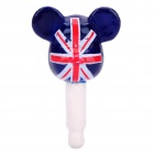 Cute UK Flag 3.5mm Dustproof Plug-in Earphone Jack for iPhone - Deep Blue + Red + White