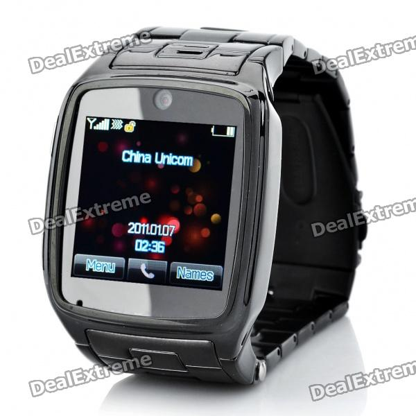 Watch Style 1.6 Touch Screen Single SIM Single Network Standby Quadband Cellphone w/ Java - Black