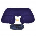3-in-1 Inflatable Pillow + Sleeping Eyeshade + Earplug Travel Set - Deep Blue + Black