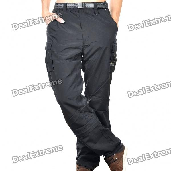 Men's Nylon Casual Sports Quick-Dry Zip Off Capri Pants - Black (Size-L)