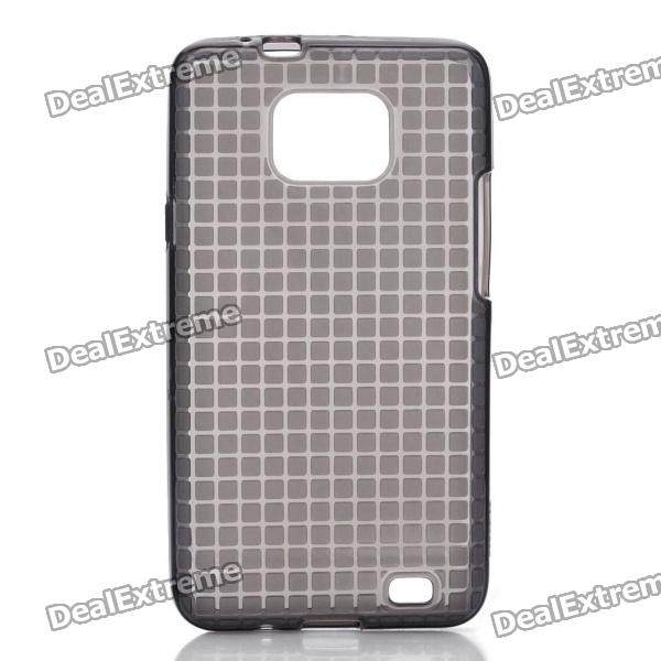 Rock Grid Style Protective Soft TPU Back Case w/ Screen Protector for Samsung Galaxy S2 i9100 - Grey