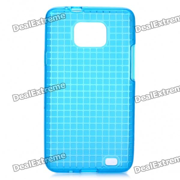 Rock Grid Style Protective Soft TPU Back Case w/ Screen Protector for Samsung Galaxy S2 i9100 - Blue