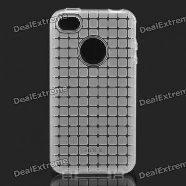 ROCK Grid Style Protective Soft TPU Back Case for Iphone 4/4S - Transparent White