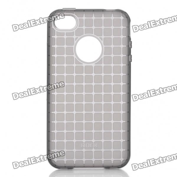 ROCK Grid Style Protective Soft TPU Back Case for Iphone 4/4S - Black