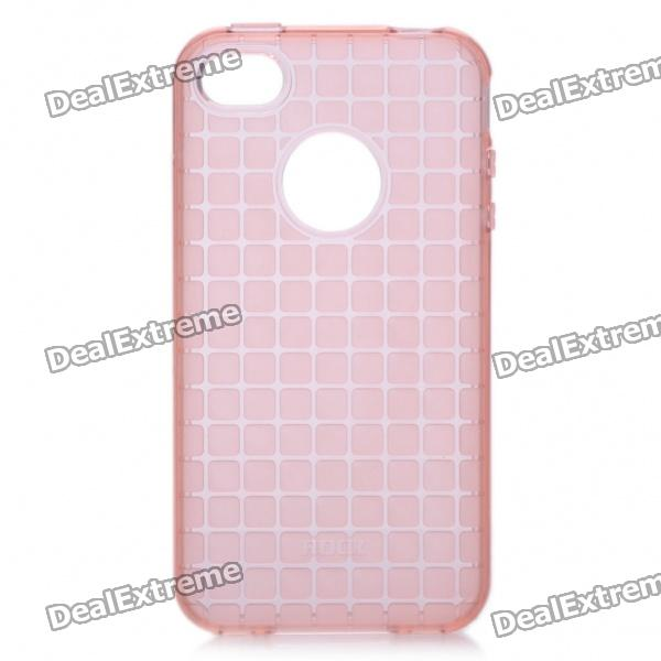 ROCK Grid Style Protective Soft TPU Back Case for Iphone 4/4S - Pink