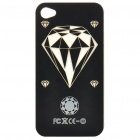 Diamond Pattern Multicolored LED Protective Plastic Back Case for Iphone 4 - Black (1 x CR2016)
