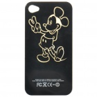 Mickey Pattern Multicolored LED Protective Plastic Back Case for iPhone 4 - Black (1 x CR2016)