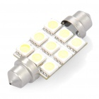 44mm 0.6W 6500K 75-Lumen 9-LED White Car Bulb (DC 12V)