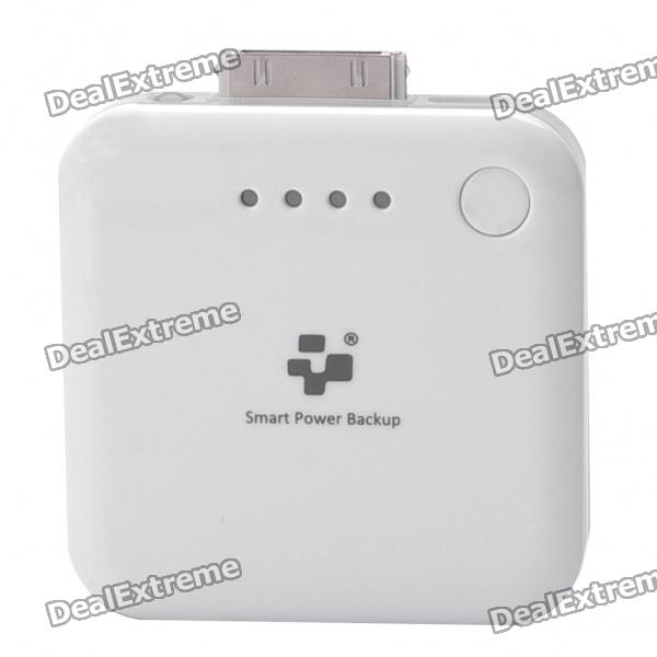 Portable 1900mAh Mobile Emergency Power Charger with White LED Flashlight for iPad/iPhone - White