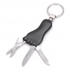 Black Foot Style Multifunctional Keychain Set - Black + Silver