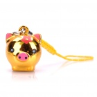 Cute Pig Head Style Bells with Lanyard - Golden (10-Piece)