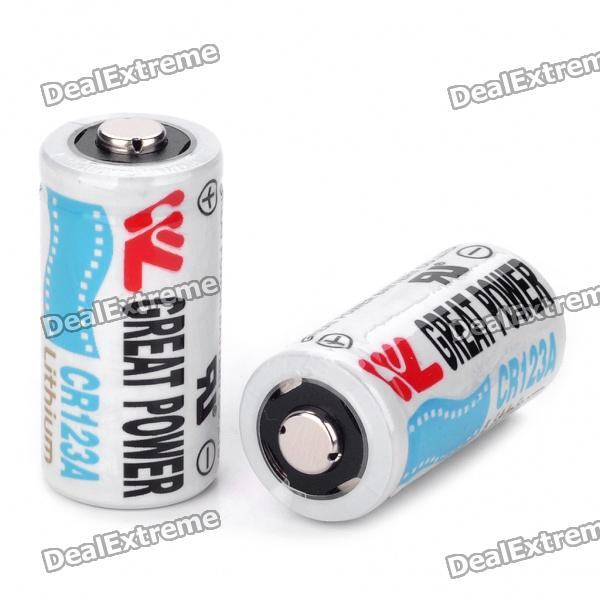 Non-Rechargeable 3.0V 800mAh CR123A Battery (Pair) maxell er17 33 non rechargeable 3 5v 1600mah battery