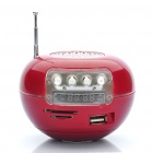 Cool Apple Shaped MP3 Music Speaker Player with Colorful Flashing Light/FM/USB/SD/TF - Deep Red