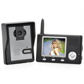 "2.4GHz 3.5"" TFT LCD Color 0.3MP CMOS Video Door Phone with 6-LED Night Vision - Black + Silver"