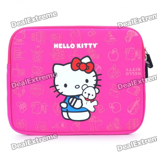 Stylish Hello Kitty Style Dual Zippered Protective Soft Pouch Bag for iPad 2 - Deep Pink