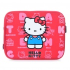 Cute Hello Kitty Style Dual Zippered Protective Soft Pouch Bag for iPad 2 - Deep Red