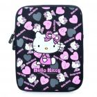 Lovely Hello Kitty Pattern Dual Zippered Protective Soft Pouch Bag for iPad 2 - Pink + Black