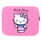 Attractive Hello Kitty Style Dual Zippered Protective Soft Pouch Bag for iPad 2 - Deep Pink