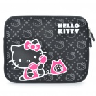 Stylish Hello Kitty Pattern Dual Zippered Protective Soft Pouch Bag for iPad 2 - Black