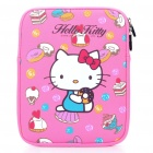 Cute Hello Kitty Pattern Dual Zippered Protective Soft Pouch Bag for iPad 2 - Deep Pink