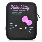Hello Kitty Style Dual Zippered Protective Soft Pouch Bag for iPad 2 - Black