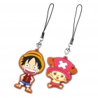 Cute Silicone One Piece Luffy and Chopper Pendant Cell Phone Straps