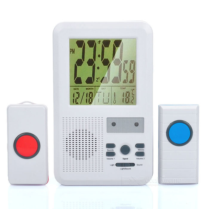 "3.8"" LCD Display Water Resistant Wireless Door Bell & Alarm w/ Double Transmitters - White"