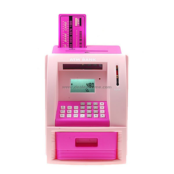 cheap cute hi tech mini atm coin bank with card and lcd. Black Bedroom Furniture Sets. Home Design Ideas