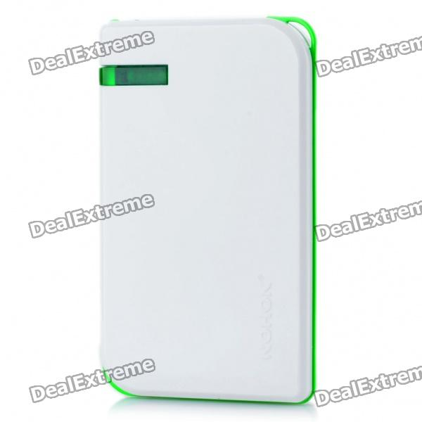 NOHON 5000mAh Mobile Emergency Power Charger w/ 6 Cell Phone Charging Adapters - White + Green