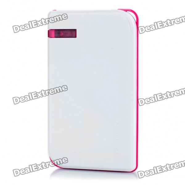 NOHON 5000mAh Mobile Emergency Power Charger w/ 6 Cell Phone Charging Adapters - White + Deep Pink