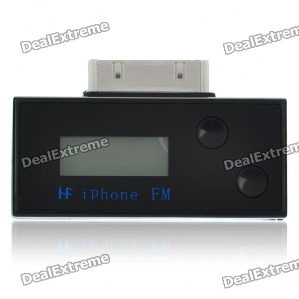 """0.7"""" LCD Display FM Transmitter + USB Charging Cable + Car Charger for iPod / iPhone - Black"""