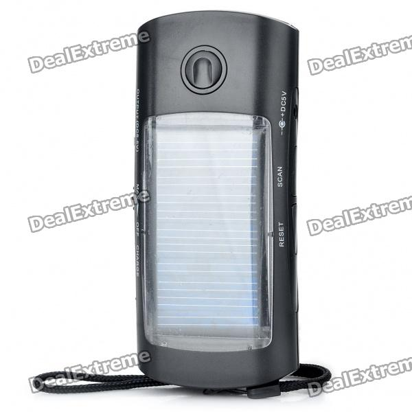 Solar Powered 1000mAh Emergency Power Charger with White 4-LED Flashlight / FM / Adapters - Black