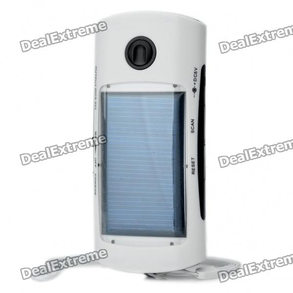 Solar Powered 1000mAh Emergency Power Charger with White 4-LED Flashlight / FM / Adapters - White
