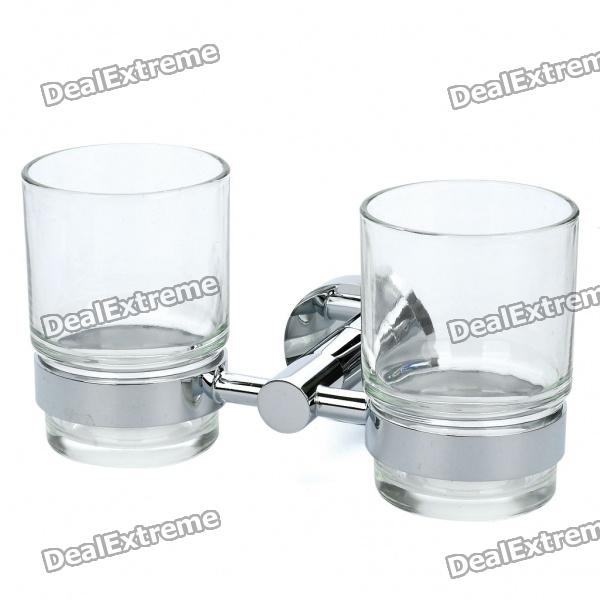 Brass Dual-Tumbler Holder with Two Glass Cups (200ml)
