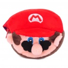 Cute Super Mario Style Dual-Compartment Dual Zippers Coins Money Purse Bag - Red