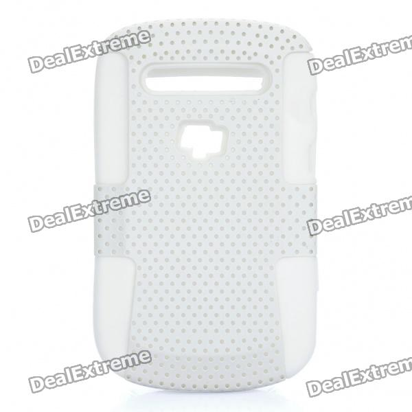 Protective Plastic Mesh & Silicone Back Case for Blackberry 9900/9903 - White