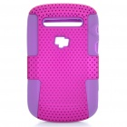Protective Plastic Mesh & Silicone Back Case for Blackberry 9900/9903 - Purple