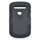 Protective Plastic Mesh & Silicone Back Case for Blackberry 9900/9903 - Black