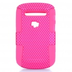 Protective Plastic Mesh & Silicone Back Case for Blackberry 9900/9903 - Deep Pink