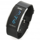 "1.5"" Blue LED Waterproof Rubber Band Stainless Steel Dial Wrist Watch - Black (1 x CR1616)"