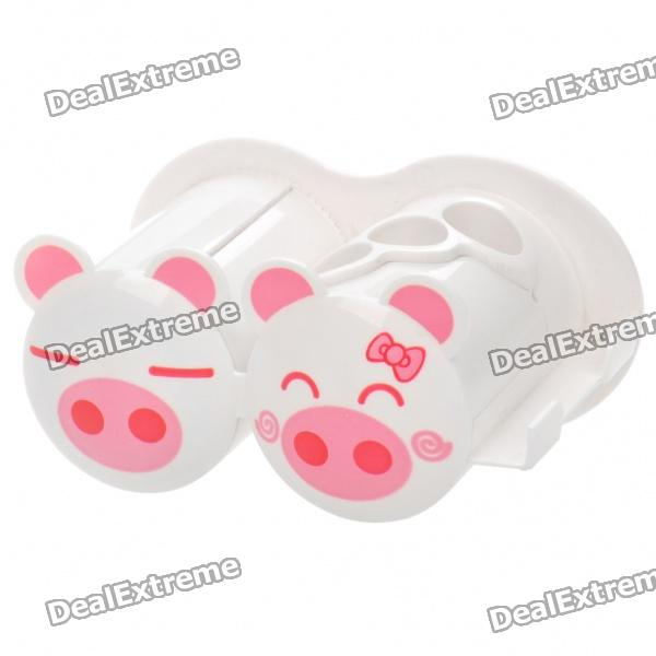 Cute Piggy Suction Cup Toothbrush Holder w/ Toothpaste Squeezer / Razor Hanger / Cup Hook