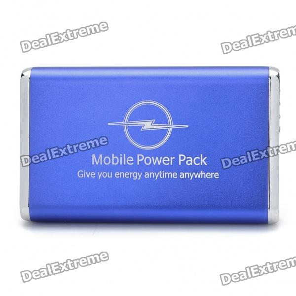 """USB Rechargeable """"5000mAh' Emergency Battery Pack w/ 9 Adapters for Cell Phone + More - Blue"""
