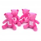 Romantic LOVE Bear Style Cotton Fabric Doll Toys Valentine's Day Gift - Deep Pink (4 Piece Pack)